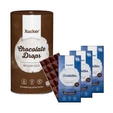 3 x Xucker Edelbitterschokolade (3x100g) + Schokodrops mit finnischem Xylit Dose (750g)