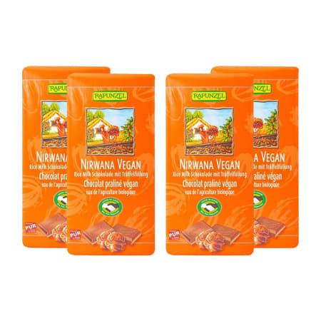 4 x Nirwana vegane Schokolade mit Praliné-Füllung bio (4x100g)