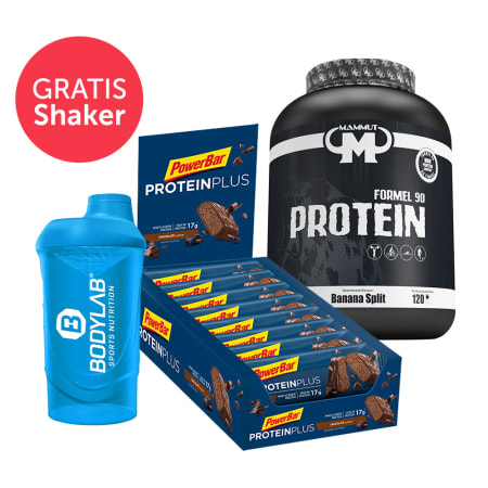 Mammut Formel 90 Protein (3000g) + Bodylab 24 Shaker + PowerBar Protein Plus 30% (15x55g)
