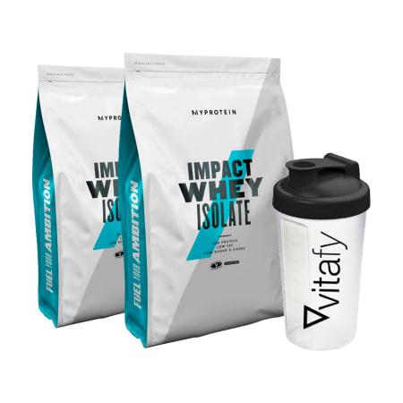 2 x MyProtein Impact Whey Isolate (2x1000g) + GRATIS Vitafy Shaker (600ml)
