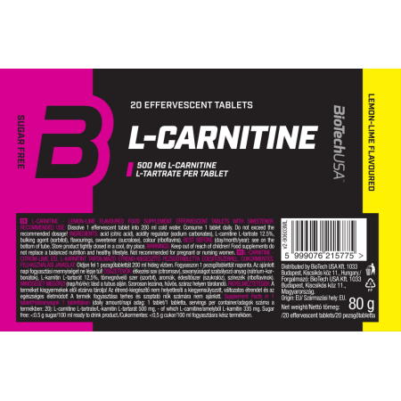Effervescent L-Carnitine 500mg Lemon-Lime (20 tabs)