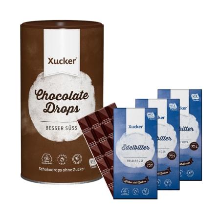 3 x Xucker Edelbitterschokolade (3x80g) + Schokodrops mit finnischem Xylit Dose (750g)