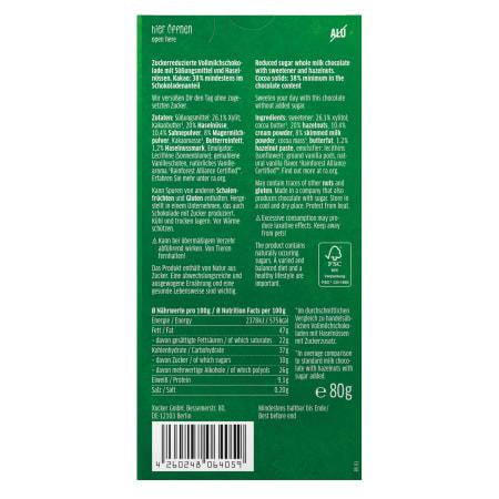 Edel Vollmilchschokolade mit Xylit und Haselnüssen (80g)