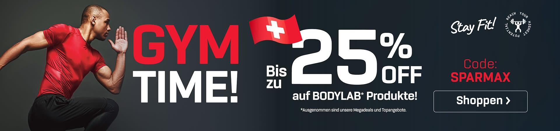 schwarzer Hintergrund, schweizer Flagge, Sportler in rotem T-Shirt und Verweis auf das Angebot