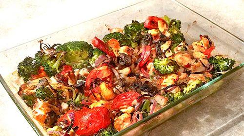 Auflauf mit Gemüse und Hühnchen