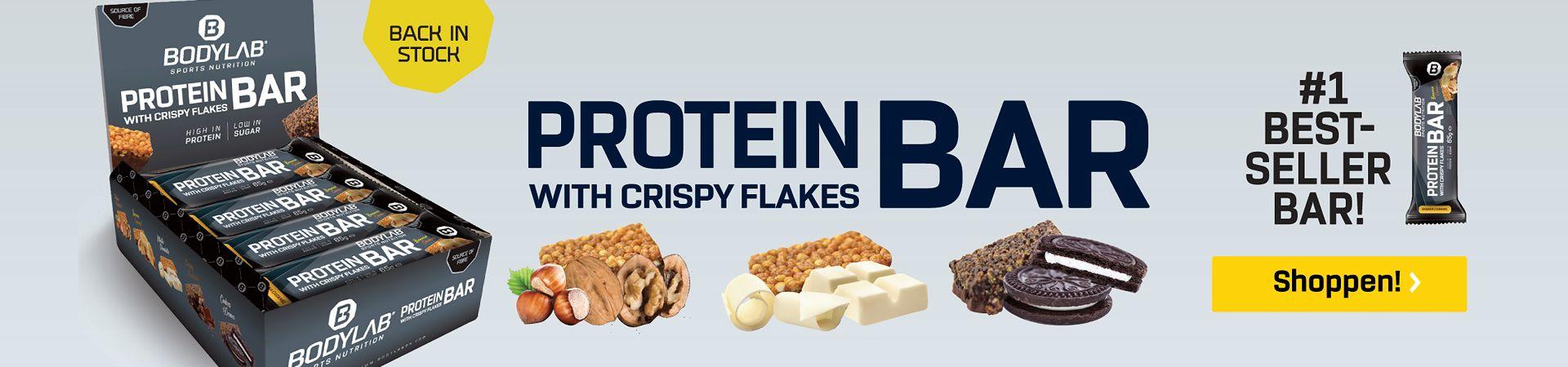 Protein Bar Box met enkele staven voor lichtgrijze achtergrond