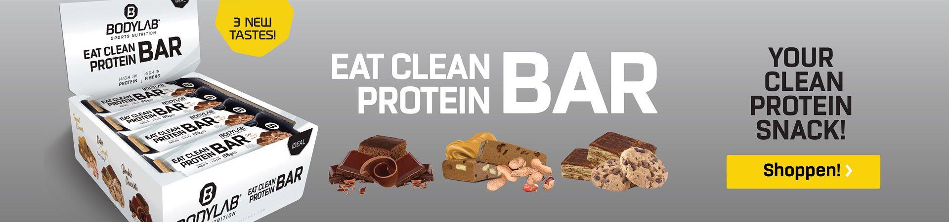 Eat Clean Bar Box - drie repen, gesneden met de ingrediënten tegen een lichtgrijze achtergrond