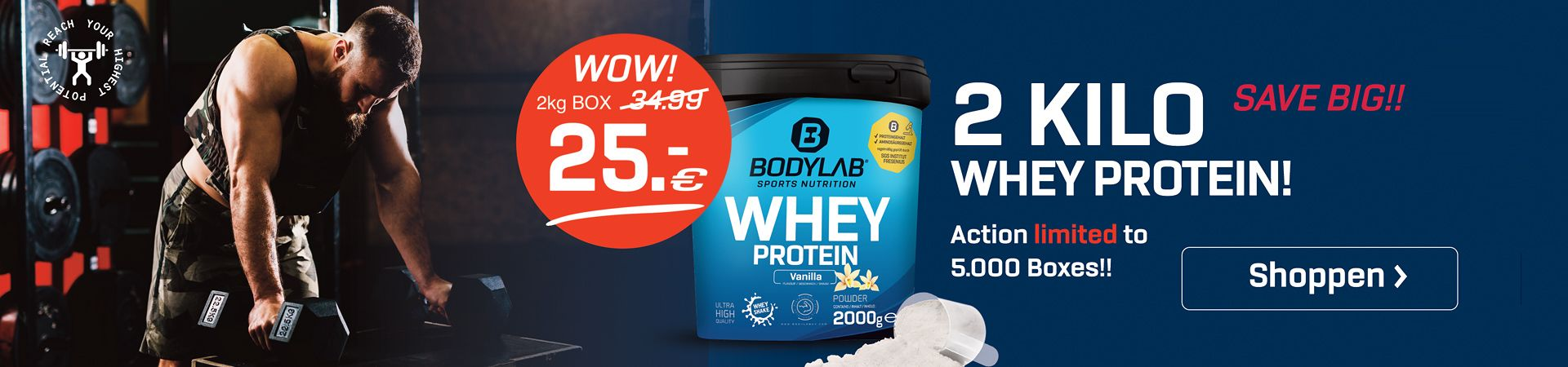 blauwe achtergrond met productfoto van Whey Protein en verwijzing naar het aanbod