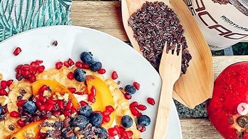 Wafels met fruittopping + een extra portie proteïne