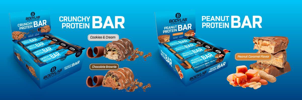 Crunchy Protein Bar en Peanut Protein Bar bij Bodylab24