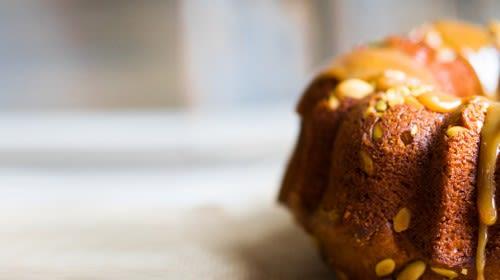Kürbiskuchen mit süssem Kürbismus