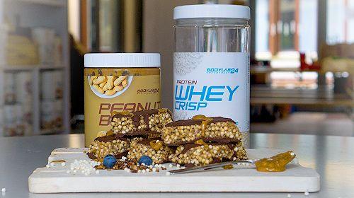 Protein Crisp Bars mit Peanutbutter und Schokoladenüberzug