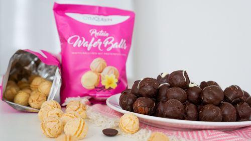 Protein Waffelbällchen mit Schokoladenüberzug