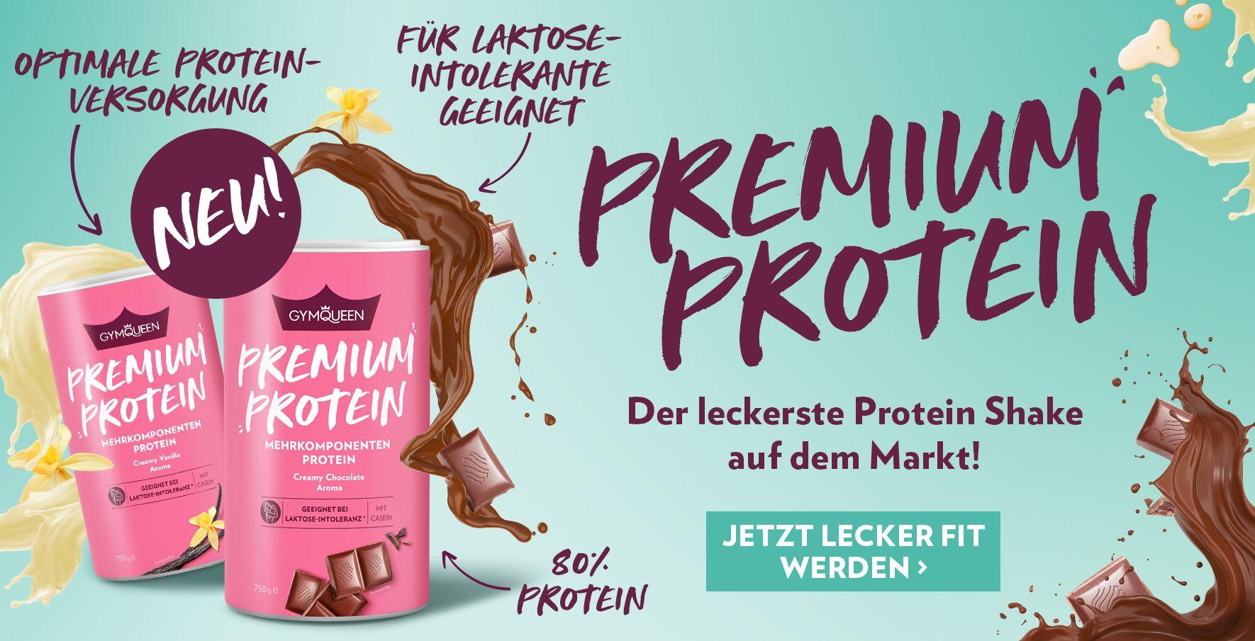 NEU: Premium Protein mit Whey Konzentrat, -Isolat und Casein für eine optimale Proteinversorgung.