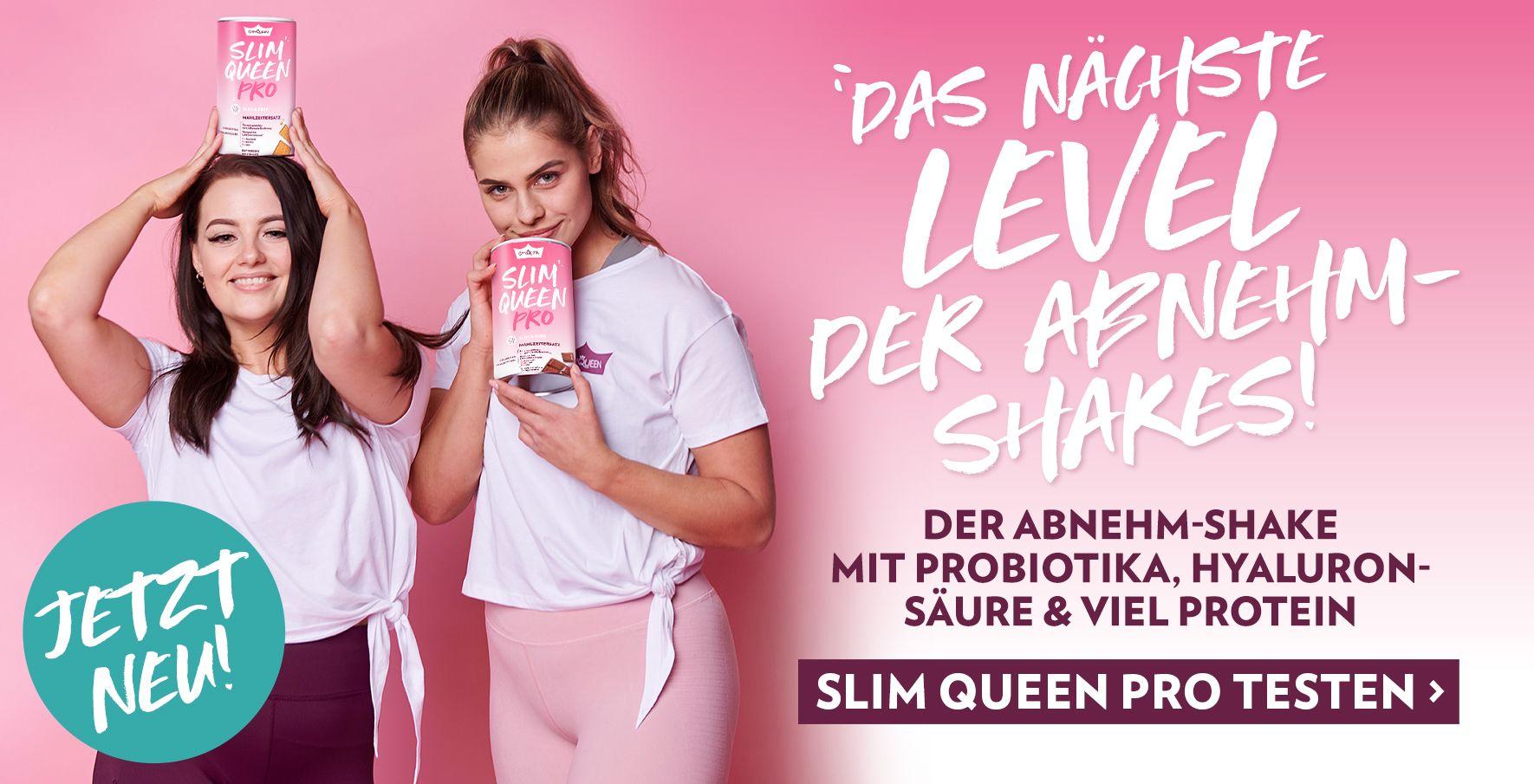 NEU: Slim Queen Pro - der erste Abnehm-Shake mit Probiotika, Hyaluronsäure, Zink & Biotin & viel Protein.