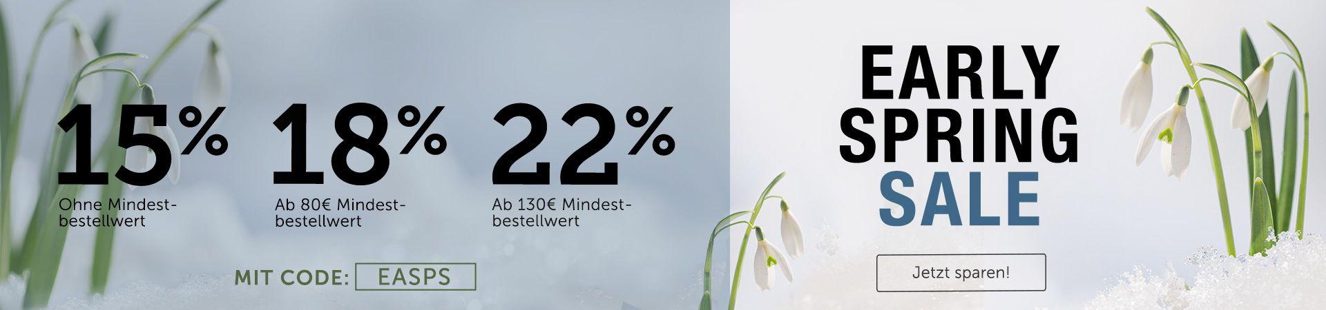 Be happy! Hol dir jetzt bis zu 22% Rabatt auf Alles für deine ersten Frühlingsgefühle.