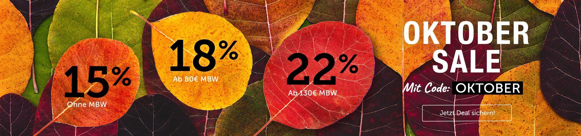 Hol dir jetzt bis zu 22% Rabatt mit dem Code OKTOBER