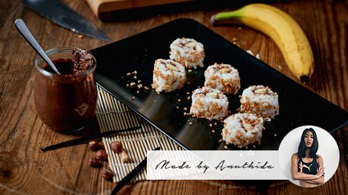 Schoko-Sushi mit Banane