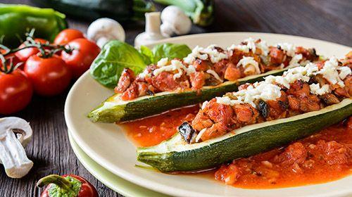 Gefüllte Zucchini mit Rinderhackfleisch