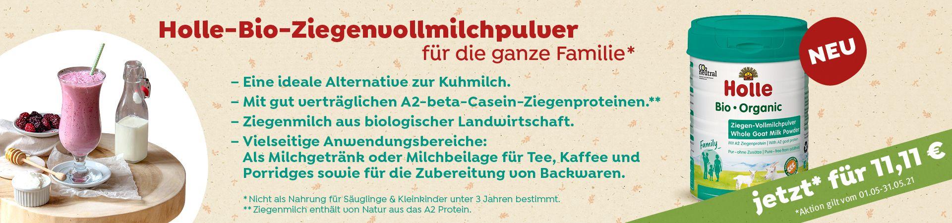 Aktion: Bio-Ziegen-Vollmilchpulver für die ganze Familie (400g) für 11,11 €