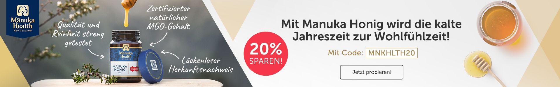 Mit Manuka Honig wird die kalte Jahreszeit zur Wohlfühlzeit! Jetzt 20% sichern!