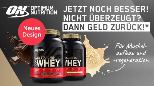 Optimum Nutrition 100% Whey Gold Standard jetzt noch besser! Zufrieden oder Geld zurück!