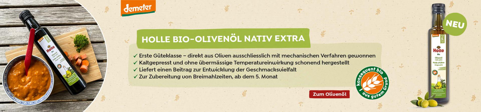Neu im Shop: Bio-Olivenöl nativ extra, ab dem 5. Monat (250ml)