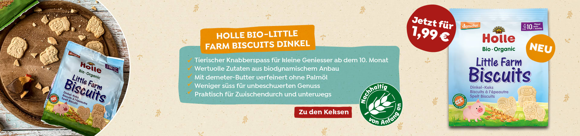 Neu im Shop: Bio-Little Farm Biscuits, ab dem 10. Monat (100g) für 1,99 Euro